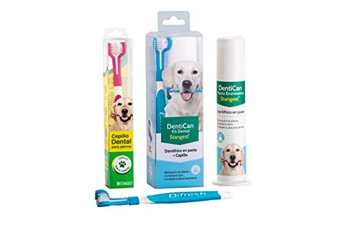 Stangest Kit Dental Cepillo + Pasta de Dientes para Perros | Limpieza e Higiene Bucal Triple Acción | Elimina Mal Aliento | Cepillo Dientes Mascotas ✅