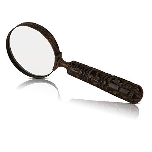 Sammler-Lupe mit Griff und Echtglas, antikes Design, ideal für enge Arbeit und Lesen von kleinen Drucken, Büchern, Zeitungen, Kreuzworträtsel, Puzzle für Männer, Frauen, Senioren