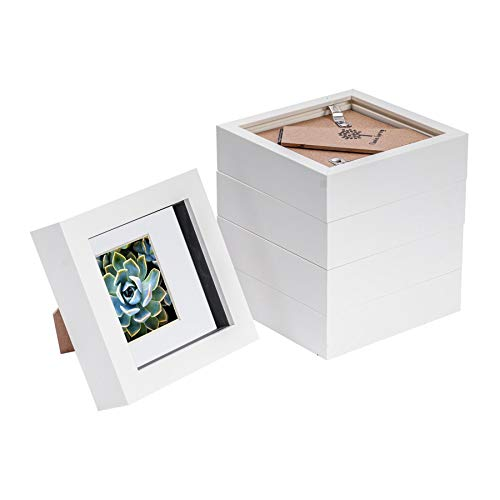 Nicola Spring 5 Piece 4 x 4 3D Shadow Box Photo Frame Set - Craft Display Picture Frame with 2 x 2 Mount - Glass Aperture - White