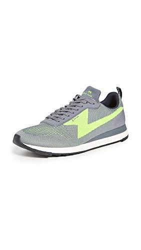 PS Paul Smith Men's Rocket Sneakers, Grey/Neon, 12 Medium US