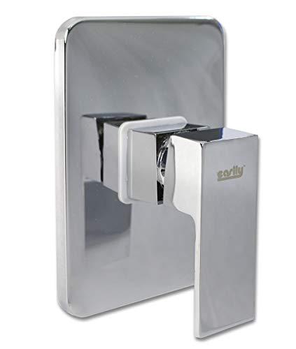 Vetrineinrete Miscelatore per doccia ad incasso da parete in ottone cromato rubinetto monocomando quadrato moderno con corpo di incasso E36