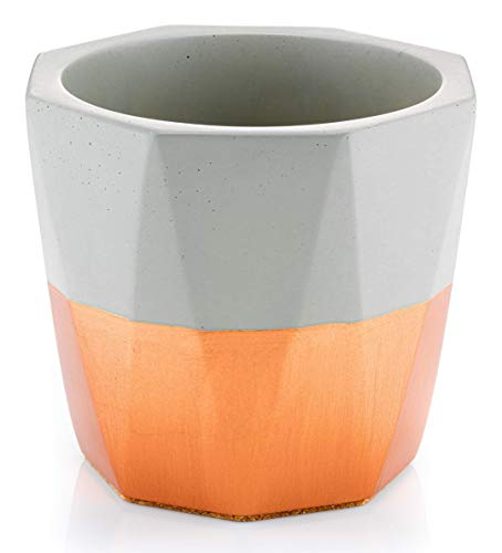 Mud & Straw Premium Concrete Flower Plant Pot, Copper Planter, Protective Cork Backing, 14cm Outer Diameter x 12cm Height