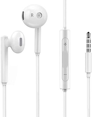 Auriculares/Auriculares intraurales con micrófono y mando a distancia compatible con iPhone 6/6S, iPad, Galaxy, Huawei y Smartphone en jack de 3,5 mm