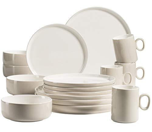 MÄSER 931618 - Servizio da tavola Finaro per 4 persone, in qualità gastronomica, design scandinavo, 16 pezzi, colore beige, in porcellana durevole
