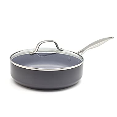 GreenPan CC000671-001 Valencia Pro Hard Anodized 100% Toxin-Free Healthy Ceramic Nonstick Metal Utensil/Dishwasher/Oven Safe Covered Sauté Pan, 4.5-Quart, Grey