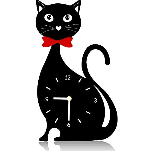 Wall Cat Clock Decor Kitchen Cat Clock Decorative Silent Non Ticking Cat Clock for Kitchen Living Room Bedroom, 11.8 x 7 Inch