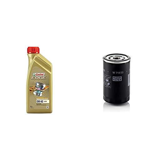 Castrol 1 Liter Edge 0W-40 A3/B4 + Mann Filter Ölfilter W 719/30 - Für PKW und Nutzfahrzeuge