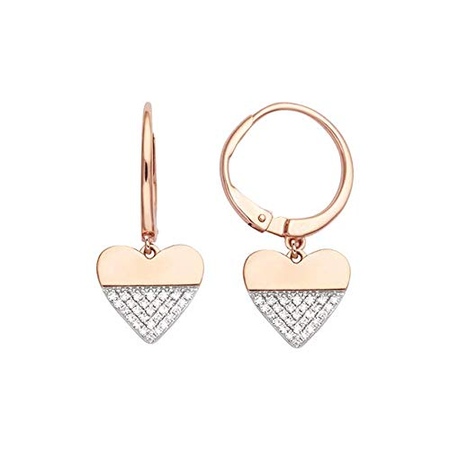 Lucky One Bijoux - Pendientes de aro con diamante de oro rosa de 18 quilates