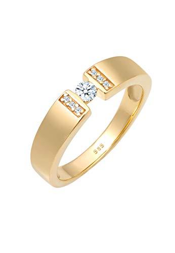 DIAMORE Ring Damen Verlobung mit Diamant (0.16 ct.) in 585 Gelbgold