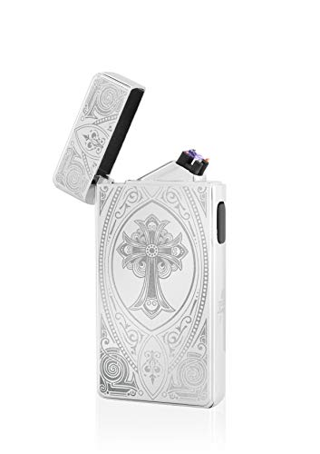 TESLA Lighter T13 Lichtbogen Feuerzeug, Plasma Double-Arc, elektronisch wiederaufladbar, aufladbar mit Strom per USB, ohne Gas und Benzin, mit Ladekabel, in edler Geschenkverpackung, Kreuz Silber
