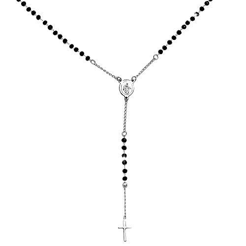 Beloved ❤️ Collar mujer y unisex rosario - Colgante gargantilla de acero inoxidable con cristales briolé y cruz colgante - varios colores - Virgen y cruz