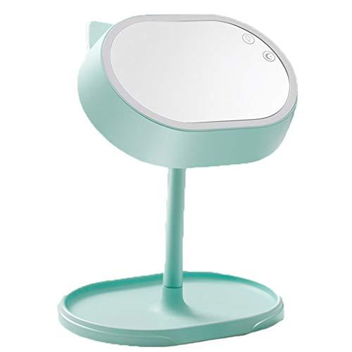Miroir de maquillage LHY à LED Bureau LED Miroir Lumineux Luminaire Princesse Miroir Pliable Miroir Miroir de courtoisie La Mode (Color : Green)