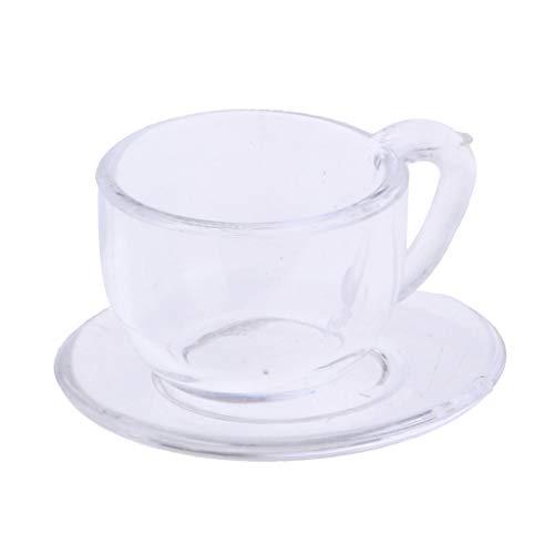 FLAMEER Miniatur Acryl Kaffeetasse Teetasse & Untertasse Teeservice Geschirr für 1/12 Puppenhaus Esszimmer Deko