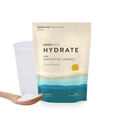 GOODONYA Hydrate Organic Electrolyte + Mineral Powder, No Added Sugar, Pure Ingredients (Lemon, 20 Servings)