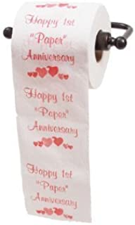 Happy 1st Paper Anniversary Printed Toilet Paper Gag Gift, Funny Novelty Anniversary Present for Him or Her