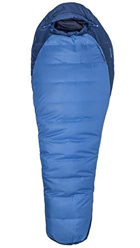 """Marmot Trestles 15 X Wide Momia ecológico, Ultraligero y cálido, Hecho de Fibra sintética, Saco de Dormir Tres Estaciones, Extra Largo y Ancho, Unisex-Adult, Cobalt Blue/Blue Night, Long: 6\'6\"""" / LZ"""