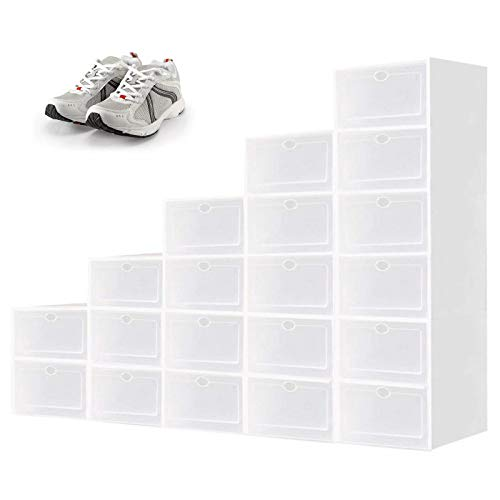 White Shoe Storage Box Shoe Organizer Storage Containers Clear Plastic Stackable Shoe Boxes with Lids Need to be Assembled 20 Packs