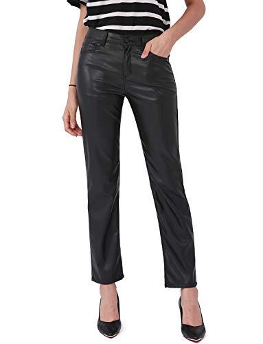 Balleay Art Faux Leather Pants for Women, Straight Leg Mid Waist Butt Lift Elastic Black Pants with 5 Pockets (Black, Medium)