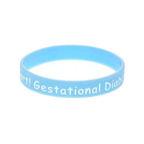 Xi-Link Bracelet Alert Gestational Diabets Mellitus Warnings Bracelet Soft Silicone Wristbands (Color : Lake Blue)