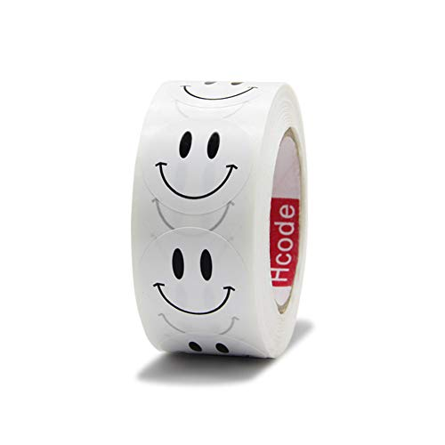"""Hcode 1 inch Smile Face Stickers Roll Happy Face Stickers Circle Dots Paper Labels Reward Stickers Teachers Stickers 500 Pieces per Roll (1"""" White Smile face)"""