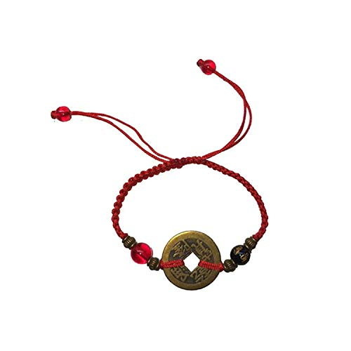EXINOX Pulsera Feng Shui Moneda Antigua |Cordel Rojo | Amuleto para la Suerte y la Riqueza | Hombre Mujer |… (Modelo 1)