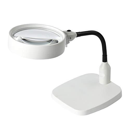 2 En 1 Lupa de pie con 6 Luz de luz LED Fuente de Escritorio -in 8X Lupa Lupa Microscopio para Leer