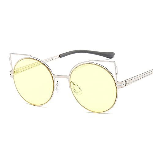 HAOMAO Gafas de sol de ojo de gato con gradiente de espejo hueco con marco de aleación para hombres y mujeres, lentes redondas, lindas gafas Uv400 7