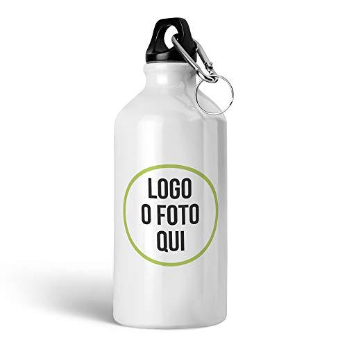 Gifty Lab Borraccia in Alluminio con Stampa Personalizzata, Stampa Frontale 4 Colori, Bianco, 400ml - Tappo Singolo