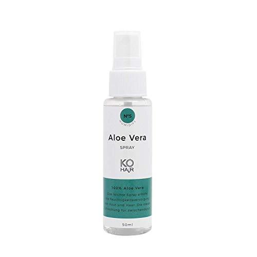 KÖ-HAIR Aloe Vera Spray für Gesicht, Haare, Körper, Feuchtigkeitscreme für Sonnenbrand, optimal Pflege für trockene, strapazierte und empfindliche Haut - 50ml