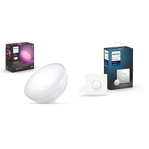 Philips Hue Go, Lampada Portatile Connessa, 520 lm, Bluetooth (2019) + Smart Button Telecomando Illuminazione Intelligente, Bianco (2019)