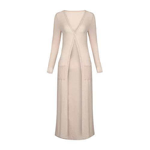 XingYue Direct Vrouwen Casual Lange Mouw Split Open Vest Pure Kleur Lange Vest Trui Kosten met Zakken