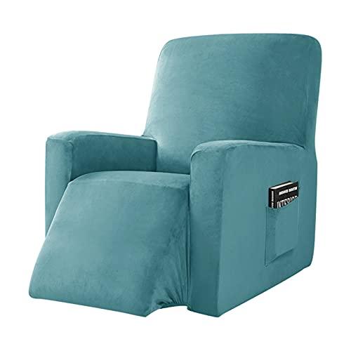 Echter Samt Husse,Samtplüsch Sesselbezug,Sesselschoner,Sofabezug Überzug,Stretchhusse für Fernsehsessel,Relaxsessel,Liege Sessel,Schaukelstuhl,Relaxstuhl,Recliner Sessel,Rutschfest ( Color : Blue )