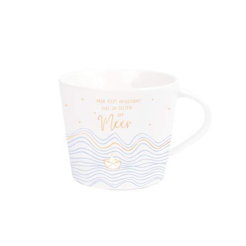 Grafik Werkstatt Kaffee-Tasse mit Echtgold | Porzellan Tasse | 420 ml | Meer
