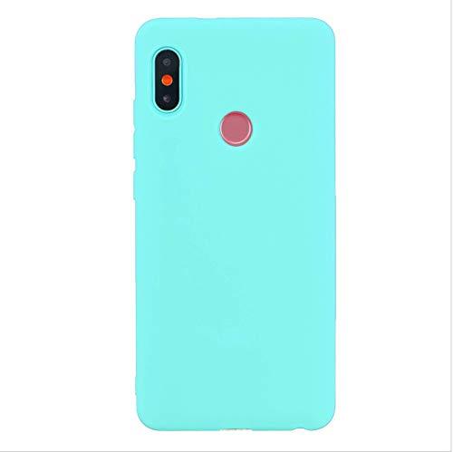 cuzz Funda para Xiaomi Redmi Note 6 Pro+{Protector de Pantalla de Vidrio Templado} Carcasa Silicona Suave Gel Rasguño y Resistente Teléfono Móvil Cover-Azul Claro