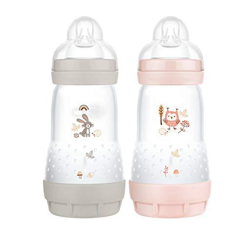 MAM Easy Start Anti-Colic Elements Babyflasche im 2er-Set (260 ml), Milchflasche für die Kombination mit dem Stillen, Baby Trinkflasche mit Bodenventil gegen Koliken, 0+ Monate, Hase/Eule