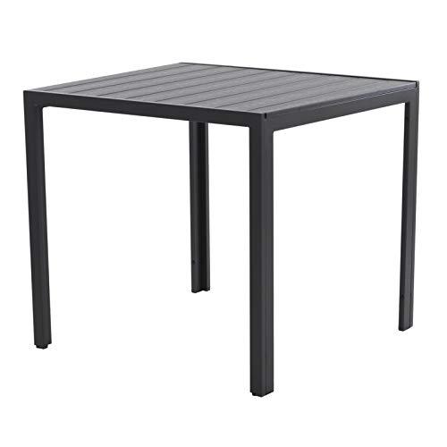Colourliving Tuintafel, aluminium, 90 x 90 cm, houtlook, polywood, zwart, balkontafel, terrastafel