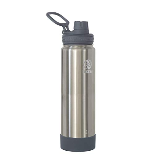Takeya Actives Botella de agua aislada con tapa de boquilla, acero inoxidable, 22 onzas