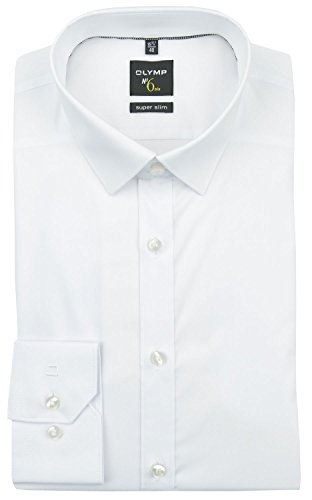 Herren Hemd No. 6 Super Slim Fit Langarm, 43, weiß
