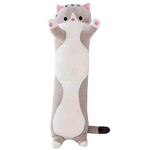 Long Cotton Buddies Süße Katzenpuppe, Plüsch-Spielzeug, 110 cm/130 cm, kuscheliges Katzenkissen, gefülltes Kätzchen, Puppenspielzeug, langes Schlafkissen, Geschenk für Kinder, Freundin (grau, 130 cm)
