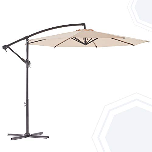 BLUU BANYAN 10 FT Patio Offset Umbrella Outdoor Cantilever Umbrella Hanging Umbrellas, Fade Resistant & Waterproof Solution-dyed Canopy Fabric with Infinite Tilt, Crank & Cross Base (Beige)