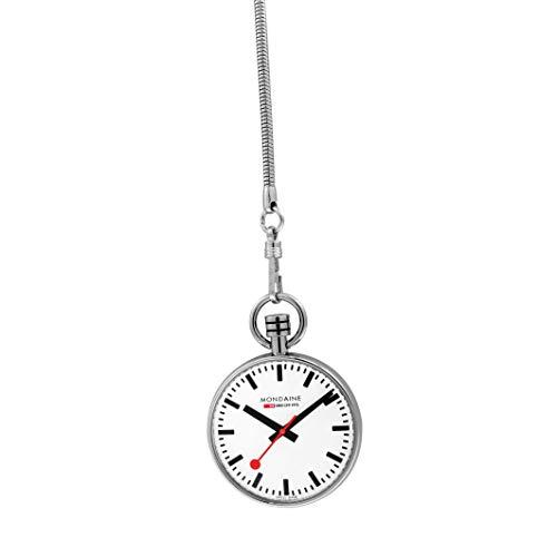 Mondaine Pocket- Reloj de bolsillo, movimiento de cuarzo Ronda 313, acero inoxidable