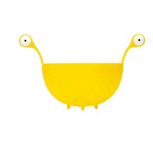 QIFFIY Tazón de Frutas Cesta de Frutas de plástico colador Colador tazón de Frutas y Verduras de Lavado Cuenca Moderna del Cuenco de Fruta de Mesa de Cocina y encimera Fruteros (Color : Yellow)