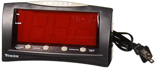 Westclox 66705 Large LED Alarm Clock, Red Display