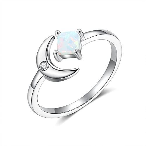 Anillos abiertos ajustables de plata de ley 925 para mujer anillos de luna de ópalo blanco cuadrado femenino joyería de plata 925 de boda