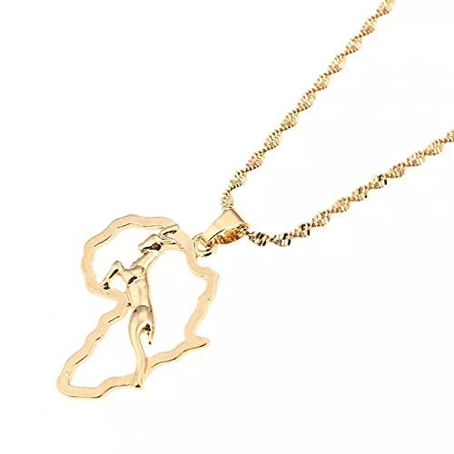 Collar Colgante Collar con colgante de mapa africano de color dorado, mapa de animales de ciervo de salto de moda, joyería de cadena Navidad Día de la Madre Día de San Valentín cumpleaños regalo