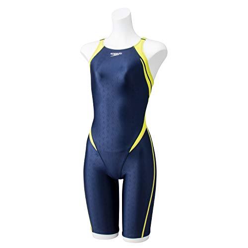 Speedo(スピード) 競泳水着 女の子 ジュニア オープンバックニースキン 4分丈 フレックスシグマII FINA 承認モデル SCG11909F ブルーノアール×ワイルドライム BW 140