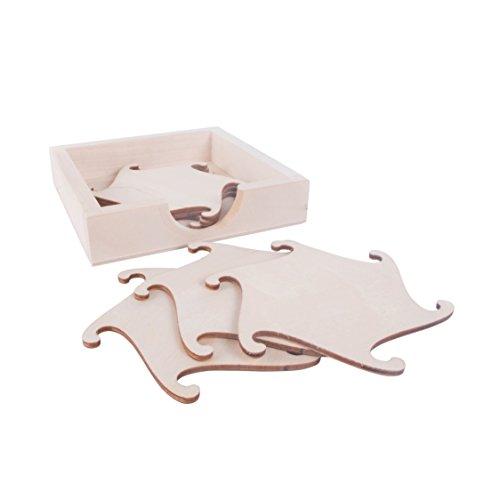 Posavasos de mesa con soporte/láser en forma de puzzle/sin tratar/sin pintar/decoupage/bebidas calientes posavasos