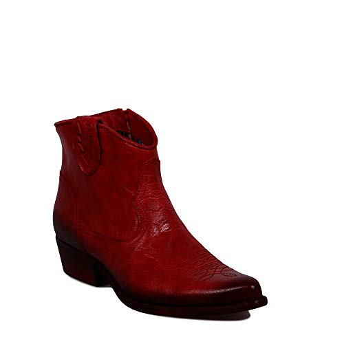 Felmini - Zapatos para Mujer - Enamorarse com West B504 - Botines Cowboy & Biker - Cuero Genuino - Rojo