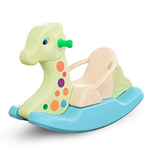 Jouets pour Enfants, Cheval à Bascule bébé Cheval à Bascule Grand siège de Voiture en Plastique épais 1-2 Ans d'âge avec de la Musique (Couleur : Vert)