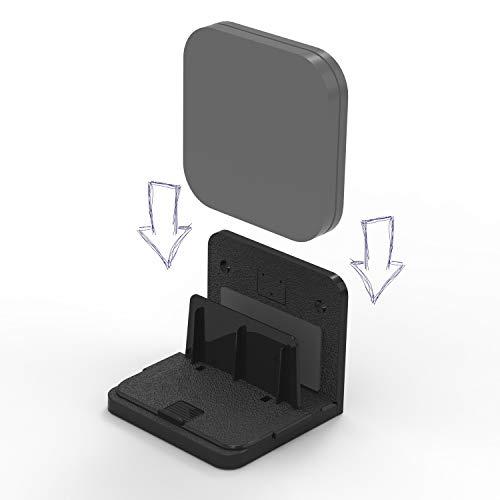sciuU Supporto da Parete Universale, for Box TV Switch di rete Modem Router, Compatibile con Apple TV, Sky Q mini, ecc. Multiuso Scaffale, Installazione con 3M Adesivo o Viti, Nero